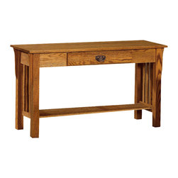 Chelsea Home Furniture - Chelsea Home Adamstown Sofa Table in Red Oak - Complete your Adamstown living room set with solid wood tables, shown in red Oak. The end table, coffee table and sofa table are crafted with the same precision as all of our solid wood products. Each table comes complete with a solid bottom shelf to store magazines, DVDs and other entertainment items. Chelsea Home Furniture proudly offers handcrafted American made heirloom quality furniture, custom made for you. What makes heirloom quality furniture? It�s knowing how to turn a house into a home. It�s clean lines, ingenuity and impeccable construction derived from solid woods, not veneers or printed finishes over composites or wood products _ the best nature has to offer. It�s creating memories. It�s ensuring the furniture you buy today will still be the same 100 years from now! Every piece of furniture in our collection is built by expert furniture artisans with a standard of superiority that is unmatched by mass-produced composite materials imported from Asia or produced domestically. This rare standard is evident through our use of the finest materials available, such as locally grown hardwoods of many varieties, and pine, which make our products durable and long lasting. Many pieces are signed by the craftsman that produces them, as these artisans are proud of the work they do! These American made pieces are built with mastery, using mortise-and-tenon joints that have been used by woodworkers for thousands of years. In addition, our craftsmen use tongue-in-groove construction, and screws instead of nails during assembly and dovetailing _both painstaking techniques that are hard to come by in today�s marketplace. And with a wide array of stains available, you can create an original piece of furniture that not only matches your living space, but your personality. So adorn your home with a piece of furniture that will be future history, an investment that will last a lifetime.