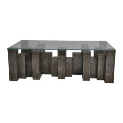 Kathy Kuo Home - Lionel Industrial Loft Iron Building Blocks Glass Coffee Table - Limited Quantities.