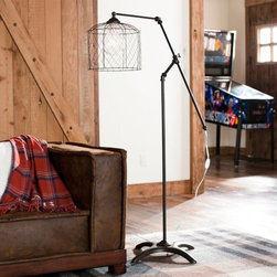 Vintage Floor Lamp - This is one of the most unique lamps I've seen. I love, love, love the wired shade. This is the kind of lamp that would make you think twice about what type of bulb you purchase.