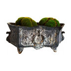 French Iron Garden Urn - Footed Urn from France.  Rectangular shape.  Aged gray patina, French wreath and bow design on both sides.