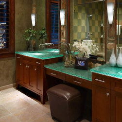 """Glass counter top with mirrors - glass counter top.  1 1/2"""" standard clear."""