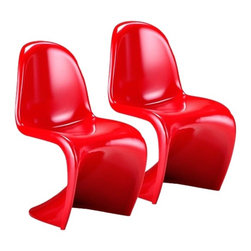 """Zuo - Set of Two Red S Chairs - The S Chair makes a bold statement of modern design. Made from sturdy ABS plastic the S Chair comes here in vibrant red. These sophisticated seating options are also fully stackable. Set of two. ABS plastic construction. 17 1/2"""" seat height. 18 1/2"""" wide. 33"""" high. 15 1/2"""" deep.  Set of two.   ABS plastic construction.   17 1/2"""" seat height.   18 1/2"""" wide.   33"""" high.   15 1/2"""" deep."""