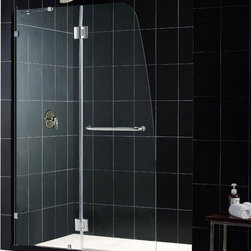 DreamLine - DreamLine SHDR-3345728-04 AquaLux 46in Frameless Hinged Shower Door, Clear 5/16i - The AquaLux shower door delivers European styling with a gracefully curved silhouette for a uniquely modern look. The perfect combination of impressive 5/16 in. thick tempered glass and a flowing frameless design delivers the look of custom glass at a superior value. Make a splash with the striking yet elegant profile of the AquaLux shower door. 46 in. W x 72 in. H ,  5/16 (8 mm) clear tempered glass,  Chrome or Brushed Nickel hardware finish,  Frameless glass design,  Out-of-plumb installation adjustability: No,  Hinged door and stationary side glass panel,  Self-closing solid brass hinges,  wall mount brackets and support bar for stationary glass,  Convenient towel bar on the outside panel,  Solid brass wall mount self-closing hinges in.,  Stationary panel: 21 3/8 in.,  Material: Tempered Glass
