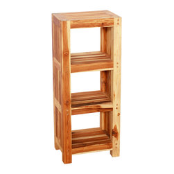 Kammika - Tower Storage Farmed Teak Hand Dowel 14Wx10Dx34 inch H w Eco Frndly Teak Oil Fin - Our Farmed Teak Wood Tower 14 inch width x 10 inch depth x 34 inch height - 10 inch Shelf Spacing (starting 4 inches off the ground) with Eco Friendly, Natural, Food-safe Teak Oil Finish is crafted from dense Farmed Teak; water flows off easily. This compact hand doweled tower unit takes up little space; it is perfect in a bathroom or spa for holding rolled up towels, soaps, and lotion bottles. This sturdy, versatile eco friendly unit is great for keeping items neatly organized and easily accessible with its ample open shelf space. This can be used in bathrooms or sink areas, and pool, patio, or garden areas. Easily moved, they are great for wet areas where a water resistant storage unit would be appreciated. You can use these to set up an indoor or outdoor shower or bathing area, in home spa, or swimming pool rinse off area. You can allow the teak oil to evaporate over time so the wood turns shades of grey. Teak oil creates a water resistant and food safe finish that may be renewed or allowed to fade to a silver grey, while maintaining its strength. These natural oils are translucent, so the wood grain detail is highlighted. There is no oily feel, and cannot bleed into carpets. Hand crafted from a sustainable Farmed Teak wood species, we make minimal use of electric hand sanders in the finishing process. All products are dried in solar or propane kilns. No chemicals are used in the process, ever. Each piece is kiln dried, sanded, rubbed with teak oil; they are then packaged with cartons from recycled cardboard with no plastic or other fillers. The color and grain of your piece of Nature will be unique and may include small checks or cracks that occur when the wood is dried. Sizes are approximate. Products could have visible marks from tools used, patches from small repairs, knot holes, natural inclusions or holes. There may be various separations or cracks on your piece when it arrives. There may be some slight variation in size, color, texture, and finish color.Only listed product included.