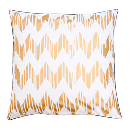 """Allem Studio - Allem Studio Chevron Gold Pillow - Soft and sensational, this chevron throw pillow by Allem Studio lends a modern vibe. Its metallic gold geometric zigzag gets an unexpected update with artistic vertical stripes. 20""""W x 20""""H; 100% cotton; Navy blue piping; Solid white reverse; Silkscreen; Hidden zipper closure; Feather pillow insert included; Machine wash"""