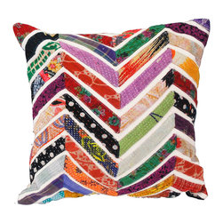 Modelli Creations - Vintage Sari Chevron Stripe Pillow, White - Rejuvenate decor with a splash of patchwork design and vivid color. Crafted from a unique blend of strips vintage fabric against white contrasting fabric in a Chevron design, these pillows offers a soft spot to rest on while adding an element of bright bohemian flair to any room.