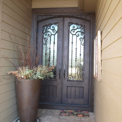 """Carriage Panel Double Door - 66"""" x 106"""" Double Iron Entry door w/ carriage style lower and upper panels"""