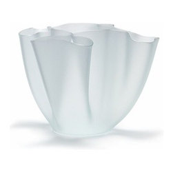 """FontanaArte - FontanaArte   Cartoccio 11.8 Inch Vase - This timeless design from Pietro Chiesa boasts fluid folds in glass. Offered in three finishes and five colors. Also available in 5.9"""" and 7.8"""" sizes."""