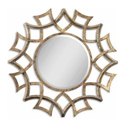 Uttermost Demarco Antiqued Gold Metal Decorative Wall Mirror - 40.25 diam. in. - About Uttermost The mission of the Uttermost Company is simple: to make great home accessories at reasonable prices. This has been their objective since founding their family-owned business over 30 years ago. Uttermost manufactures mirrors, art, metal wall art, lamps, accessories, clocks, and lighting fixtures in its Rocky Mount, Virginia, factories. They provide quality furnishings throughout the world from their state-of-the-art distribution center located on the West Coast of the United States.