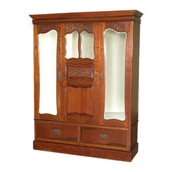 Consigned Consigned Antique English Victorian Walnut 2-Door Armoire Wardrobe Clo - Walnut construction