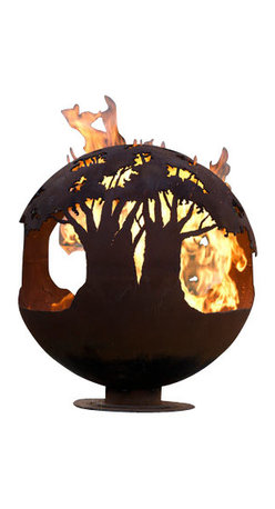 """The Fire Pit Gallery - Tree of Life 37"""" Steel Fire Pit Sphere with Flat Steel Base - Tree tops encircle this round earth shaped sphere reminding its viewers of the beauty and importance of trees to our planet."""