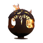 "The Fire Pit Gallery - Tree of Life 37"" Steel Fire Pit Sphere with Flat Steel Base - Tree tops encircle this round earth shaped sphere reminding its viewers of the beauty and importance of trees to our planet."