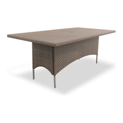 Westminster Teak Furniture - Valencia All Weather Wicker Dining Table - Part of the Valencia Collection, this all beautifully woven all-weather wicker dining table will fit gracefully both indoors or out; in your dining space, loggia or balcony. Made of durable extruded polyethylene  on  powder coated high performance aluminum frame, the furniture is lightweight yet sturdy enough to withstand the rigors of everyday use and the extremities  of outdoor weather including temperature fluctuations , UV exposure from sunlight, mold, and mildew. The fibers used  have been specifically engineered to replicate not only the look and feel of natural rattan and wicker  but its robust characteristics makes for easy care.