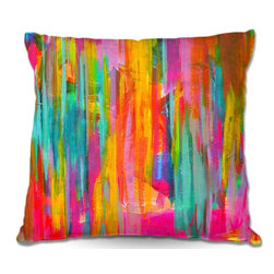 DiaNoche Designs - Pillow Linen - Jackie Phillips Neon Double Abstract - Add a little texture and style to your decor with our Woven Linen throw pillows. The material has a smooth boxy weave and each pillow is machine loomed, then printed and sewn in the USA.  100% smooth poly with cushy supportive pillow insert with a hidden zip closure. Dye Sublimation printing adheres the ink to the material for long life and durability. Double Sided Print, machine wash upon arrival for maximum softness. Product may vary slightly from image.