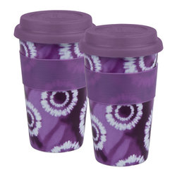 Konitz - Purple Batik Medium Travel Mugs, Set of 2 - Brightly-colored neon purple travel mugs feature a Batik print. White bursts on a colored background create a tie-dye effect. Durable and stylish porcelain mugs have a ribbed grip for easy handling. Colored silicone lid prevents spilling or splashing.