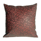 Pillow Decor - Pillow Decor - Pebbles in Red 12 x 12 Faux Fur Throw Pillow - Bring style and fashion into your home with this beautiful and unique decorative accent pillow. This petite 12 x 12 red pebble print throw pillow is both stylish and practical. The base of the pillow is a dark rich red faux leather, whereas the pebble print is a raised faux fur in gray and brown, giving it a soft fun texture.
