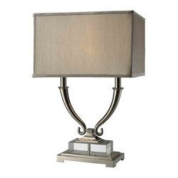 Dimond Lighting - Dimond Lighting D1873 Roberts Nickel Table Lamp - Roberts 2 Light Table Lamp in Polished Nickel and Clear Crystal with Grey Shade and Grey Liner