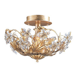 "Crystorama - Country - Cottage Crystal Flowers 12"" Wide Antique Gold Ceiling Light Fixture - Charming ceiling fixture with crystal flower detailing. Antique Gold finish. Crystal flower details. Takes three 60 watt candelabra bulbs (not included). 12"" wide. 8"" high.  Antique Gold finish.  Crystal flower details.  Takes three 60 watt candelabra bulbs (not included).  12"" wide.  8"" high."