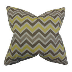 The Pillow Collection - Howel Zigzag Pillow Yellow - Make a splash to your home with this playful decor piece. This accent pillow features a zigzag pattern in shades of gray,natural and yellow. Provide a dose of comfort and texture to your living room with this indoor pillow. Made of 100% plush and high-quality cotton material. Crafted in the USA.