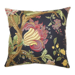 The Pillow Collection - Bella Floral Pillow Noir - Create a beautiful home decor theme with this floral throw pillow. This accent pillow features a contemporary floral print pattern in Noir hues: red, pink, yellow, brown, green, blue and black. This decor pillow is a scene-stealing piece that you can add on your bedroom or living room. The multiple colors can easily be incorporated with other accent colors. This square pillow is made from high-quality 100% cotton fabric. Hidden zipper closure for easy cover removal.  Knife edge finish on all four sides.  Reversible pillow with the same fabric on the back side.  Spot cleaning suggested.