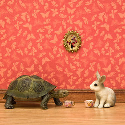 Turtle And Rabbit Fairytale Art, Red By WildLifePrints - This picture is so quirky! The tortoise and the hare are classic.