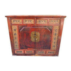 Antique Red Chinese Media Cabinet - This Antique cabinet is from Southern China, and was ...