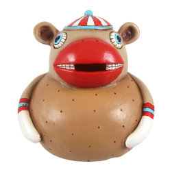 Allen Designs - Allen Designs Sock It To Me Monkey Piggy Bank Money - This whimsical sock monkey money bank is called `Sock It To Me` and is by Allen Designs. Made of cast resin, the bank features brown and red enamels, with black, aqua and white accents. The bank measures 5 inches tall, 5 1/4 inches long and 5  inches wide. The bank empties via a pull-off plastic piece on the bottom. He is hand-painted, and makes a great gift for sock monkey lovers or anyone wanting to encourage a savings habit.