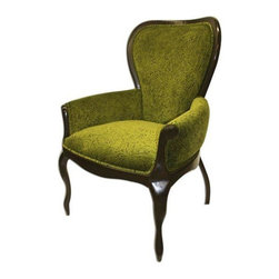Used Enchanted Hopper Accent Chair in Green - One of a Kind Enchant Hopper Chair with a Dark Walnut Finish. Upholstered in Green Liz Claiborne Fireworks Fabric.  Would make a great accent chair in a library, study or family room.
