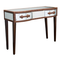 Great Deal Furniture - Adeline Mirrored Bonded Leather Accent 2-Drawer Console Table - Give your home decor an elegant feel with the Adeline Mirrored Console Table. This unique console table doubles as storage piece and will enhance the surrounding decor with its innovative mirrored finish and studded brown bonded leather accents. Bonded leather handles accentuate the front mirrored drawers of the table and create a statement that is stylish and practical in any room.
