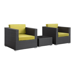 LexMod - Burrow 3 Piece Outdoor Patio Sofa Set in Espresso Peridot - Enter your personal zone for two with the Burrow outdoor rattan patio set. Easily interchangeable to match the finer needs of your gatherings, Burrow delivers a confidental sphere for both business meetings or personal get-togethers. A tempered glass topped table is perfectly sized for electronic devices or fine dining for two.
