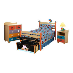 Pirate Pals Twin Bed, Natural - A playful Parrot perches on the headboard of our Pirate Pals twin bed, made of solid hardwood with a natural finish and red bedposts. Includes wave shaped headboard and footboard, rails, mattress slats, 4 sturdy casters, pirate hats and parrot finials.