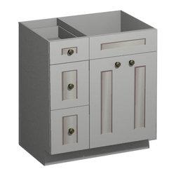 US Cabinet Depot - 30 inch White Shaker Vanity Combo Base-Drawers Left - US Cabnet Depot - *Vanity Only