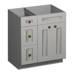 US Cabinet Depot - 30 inch White Shaker Vanity Combo Base-Drawers Left - US Cabnet Depot - *Vanity Only