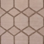 Jaipur Rugs - Hand-Tufted Geometric Pattern Wool/ Art Silk Taupe/Ivory Area Rug ( 8x11 ) - Over scaled sharp geometrics characterize this striking contemporary range of  hand tufted rugs. The high/low construction in wool and art silk creates texture and surface interest and gives a look of matt and shine.