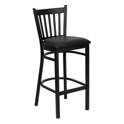 Flash Furniture - Hercules Series Black Vertical Back Metal Restaurant Bar Stool With Seat - This heavy duty commercial metal bar stool is ideal for Restaurants, Hotels, Bars, Pool Halls, Lounges, and in the Home. The lightweight design of the stool makes it easy to move around. The tubular foot rest not only supports your feet, but acts as an additional reinforcement that helps secure the legs. This stool will keep you comfortable with the easy to clean vinyl upholstered seat. You will not regret the purchase of this bar stool that is sure to complement any environment to fill the void in your decor.