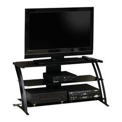 Studio RTA - Studio RTA Deco Panel Glass TV Stand in Black - Studio RTA - TV Stands - 408559