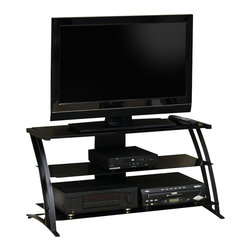 Studio RTA - Studio RTA Deco Panel Glass TV Stand in Black - Studio RTA - TV Stands - 408559