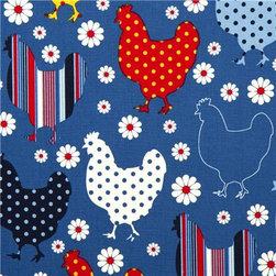 blue organic fabric chicken & flower by Robert Kaufman - Organic Fabric with Chicken