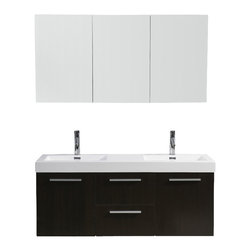 """Virtu USA - 54 Inch Modern Double Sink Bathroom Vanity - This magnificent, ultra-modern vanity is the perfect example of quality. Take notice in the ample amount of storage spaced between two doors and two drawers on soft closing Blum hinges. Featuring a beautiful finish, satin nickel hardware, and a high-gloss basin for an easy clean, this vanity will be sure to impress for years to come. Virtu USA has taken the initiative by changing the vanity industry and adding soft closing doors and drawers to their entire product line. By doing so, it will give their customers benefits ranging from safety, health, and the vanity's reliability. Dimensions: 53.9""""W X 18.9""""D X 24.2""""H (Tolerance: +/- 1/4""""); Counter Top: White Polymarble with Integrated Sink; Finish: Wenge; Features: 2 Doors, 2 Drawers; BLUM Soft Close Hinges; Hardware: Satin Nickel; Sink(s): 54.3"""" X 18.9"""" X 6.7"""" White Polymarble Integrated Sink; Faucet: Pre-Drilled for Single Hole Faucet (Included); Assembly: Light Assembly Required; Large Cut Out in Back for Plumbing; Included: Cabinet, Sink, Faucet (7"""" Chrome Faucet PS-103); Not Included: Backsplash"""
