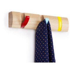 Mini Rainbow Flip Wall Hook - Bright, retro shades of red, yellow, and aqua give this wall hook an exciting look for compact spaces. Flip the hooks down to hang your coats and hats, then flip them up for a sweet stripe when the hooks aren't in use.