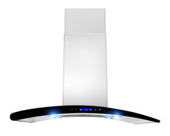 """AKDY - AKDY AK-ZGL9013 Euro Stainless Steel Island Mount Range Hood, 36"""" - 36"""" Euro designed range hood ventilation system with filters has a base assembly in stainless steel. There are three settings for different extraction levels. Four LED lights give bright stove top illumination. The removable filter elements are dishwasher safe. The hood chimney's is height adjustable. Recirculation kit is optional."""