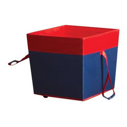 Home Products - Medium Wheeled Toy Storage Navy by HOMZ - Our HOMZ Medium Wheeled Toy Storage navy / red trim is a great storage unit for toys. The wheels and the handles makes it very easy to move around the house.