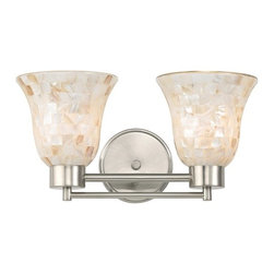 Design Classics Lighting - Bathroom Light with Mosaic Glass  in Satin Nickel Finish - 702-09 GL9222-M - Country / cottage satin nickel 2-light bathroom light. Takes (2) 100-watt incandescent A19 bulb(s). Bulb(s) sold separately. UL listed. Damp location rated.