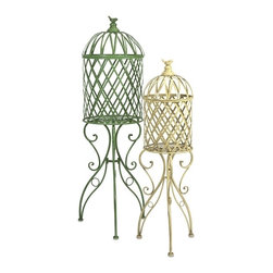 "IMAX CORPORATION - Deborah Birdcage Stand - Set of 2 - In natural bright hues, these iron birdcages feature scrollwork legs and a song bird perched on top and are perfect for displaying your favorite plant.  Set of 2 stands measuring 11""H x 11""W x 44.5""L and 15""H x 15""W x 54.75""L each. Find home furnishings, decor, and accessories from Posh Urban Furnishings. Beautiful, stylish furniture and decor that will brighten your home instantly. Shop modern, traditional, vintage, and world designs."