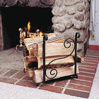 "Renovators Supply - Fireplace Accessories Black Wrought Iron Wrought Iron Log Holder - Fireplace Accessories: Sturdy Wrought Iron Scroll Log holder measures 19"" wide x 20 3/4"" high x 16"" deep."