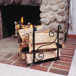 "Renovators Supply - Fireplace Accessories Black Wrought Iron Wrought Iron Log Holder - Fireplace Accessories: Sturdy Wrought Iron Scroll Log holder measures 19"" wide x 20 3/4"" high x 16"" deep."