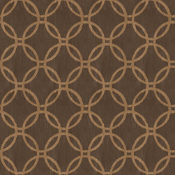 Brewster - 2535-20640 Ecliptic Geometric Trellis Wallpaper - With a bronze charisma, this chocolate brown wallpaper breaths rich sophistication. An interlocking ring pattern set perfectly to scale, makes this contemporary masterpiece envelop a room in fashionable detail.