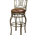 Helena Stool - Add a dash of romance to your breakfast nook or counter with this stunning stool. With an intricate, elegant, bronze-finished frame and sumptuous, brick-colored leather seat, it has eye-catching style that will make you sit up and take notice.