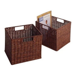 Espresso Wicker Basket Sets - A blend of simple elegance and versatile use these baskets make a handsome addition to any home. Superior wicker construction ensures years of use Lovely espresso finish complements any color scheme Spacious storage for magazines stationery and other household items Available in sets of two and four What We Like About the Espresso Wicker Baskets You'll be able to use these baskets anywhere in the house. Use them to display periodicals in the living room and bathroom as well as to store stationery and papers in the home office. These elegant Espresso Wicker Basket sets are attractively priced and designed for years of use.