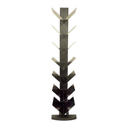 Proman Products - Proman Products Hancock Tower Spine Shelf in Rich Black - Hancock tower spine shelf, has 7 v-layers for books and decor items. Stand alone with stylish tilt design, color; rich black, ship in 2 boxes
